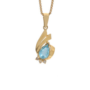 14K Yellow Gold Pear Cut Blue Topaz & Diamond Stylized Pendant