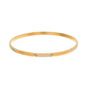 22K Yellow Gold 3.4mm Diamond Cut Textured Bangle