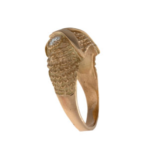 Custom 14K Yellow Gold Owl Ring with Diamond Eyes