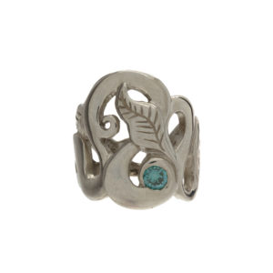 Custom Made 14K White Gold Twisted Leaf Ring w/ Teal Diamond