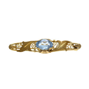 14K Yellow Gold Ornate Satin Finish Brooch w/ Oval Synthetic Spinel