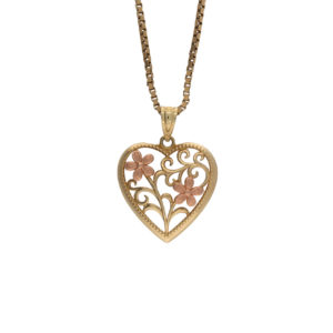 10K Yellow & Rose Gold Stylized Floral Heart Pendant
