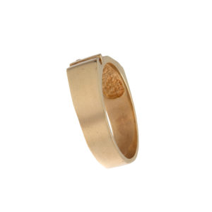 10K Yellow Gold 3 Diamond Textured Band Style Ring