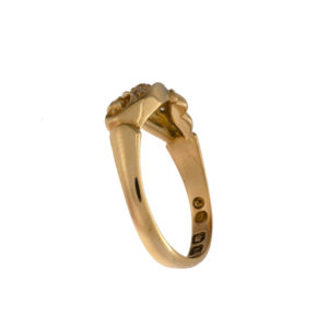 Antique 18K Yellow Gold 5 Diamond Floral Offset Ring
