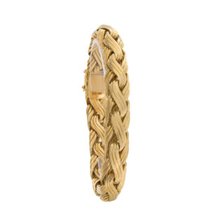 Heavy 18K Yellow Gold 8″ Textured Weave Link Bracelet