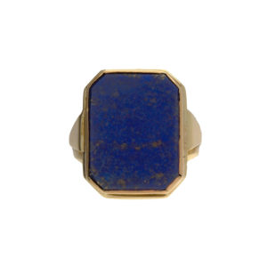 14K Yellow Gold Rectangular Lapis Signet Style Ring