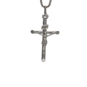 UnoAErre 10K White Gold 30mm Crucifix Pendant