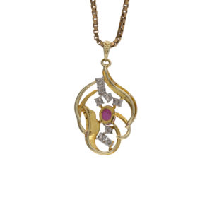 14K Yellow & White Gold Stylized Pendant w/ Ruby & 8 Diamonds