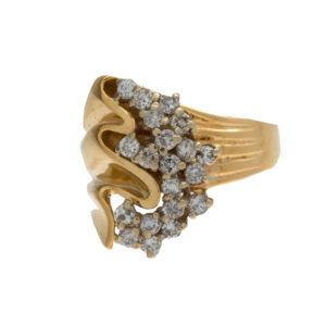 14K Yellow & White Gold Diamond Wave Cluster Style Ring