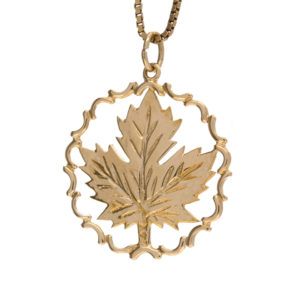 14K Yellow Gold 27mm Round Framed Canada Maple Leaf Pendant