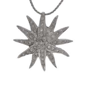 18K White Gold Diamond Sunburst Pendant on 18K White Gold 16″ Snake Chain