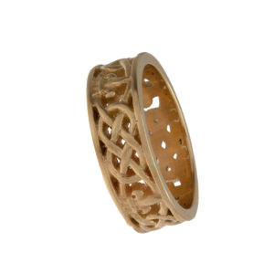 14K Yellow Gold 7.8mm Custom Fleur De Lis Band