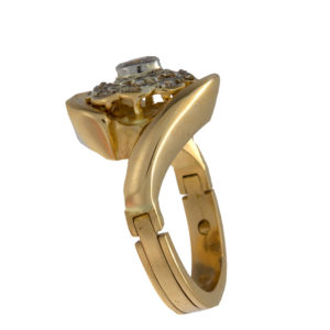 Custom 18K Yellow Gold Diamond Cluster Ring w/ Arthritic Shank