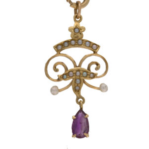 Antique 14K Yellow Gold Pear Cut Amethyst Pendant w/ Seed Pearls