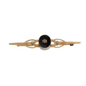 Vintage 14K Yellow & White Gold Onyx & Pearl Floral Brooch
