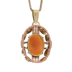 14K Yellow & Rose Gold Scroll Framed Oval Cameo Pendant