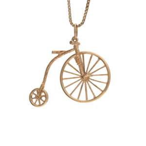 9K Yellow Gold Old Fashioned Articulated Bicycle Charm/Pendant