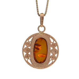 14K Rose Gold 20mm Oval Amber Centre Floral Filigree Pendant