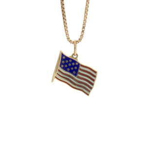 14K Yellow Gold Enameled American Flag Charm/Pendant