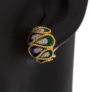 Custom Made 18K Yellow Gold Blue & Green Enamel Omega Earrings