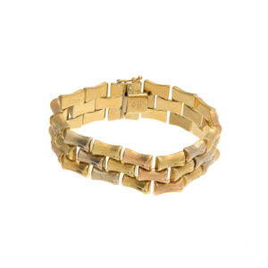 Gorgeous 18K Tri-Gold Bamboo Link Style Bracelet