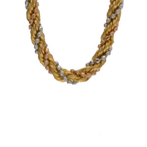 22K Tri-Color Gold 18″ Braided Link Chain
