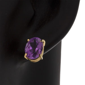 10K Yellow Gold Oval Amethyst Solitaire Stud Earrings