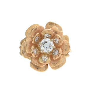 14K Yellow & White Gold 7 Diamond Flower Ring 0.95TDW