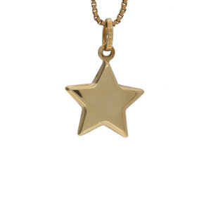 14K Yellow Gold 16mm Puffed Star Pendant