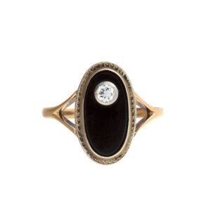 10K Yellow Gold .10CT Bezel Set Diamond Oval Black Onyx Ring