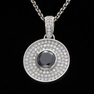 14K White Gold 13.58CT Black Diamond & 99 Diamond Pendant