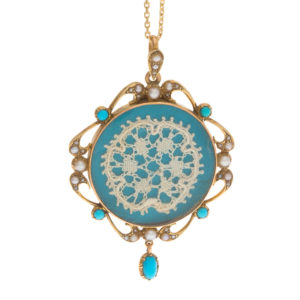 14K Yellow Gold Vintage Locket/Pendant w/ Turquoise & Seed Pearls
