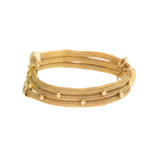 18K Yellow Gold Two Headed Serpent Weave Bracelet