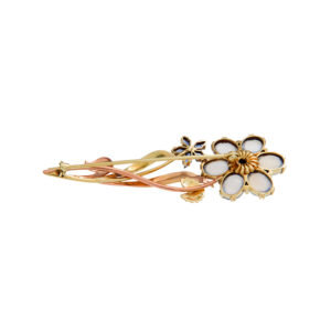 14K Yellow & Rose Gold Floral Brooch w/ Blue Sapphires & Moonstones