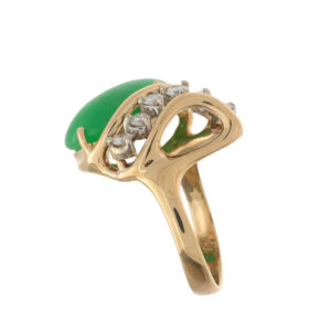 14K Yellow & White Gold Jadeite & 6 Diamond Ring