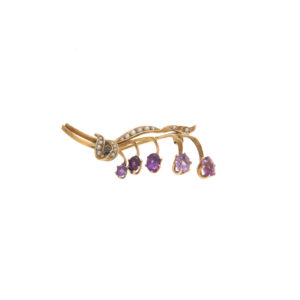Antique 14K Yellow Gold Amethyst & Seed Pearl Brooch