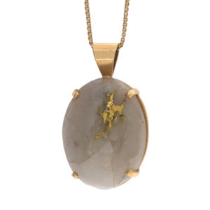 14K Yellow + Native Gold 39mm Quartz Cabochon Pendant