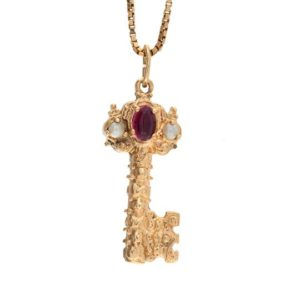 10K Yellow Gold Ornate Key Pendant w/ Faux Gemstones