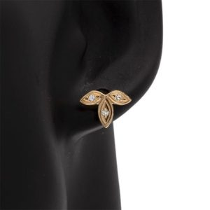 14K Yellow Gold 3 Diamond Leaf Stud Style Earrings