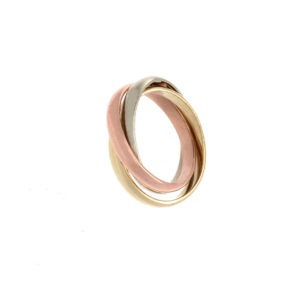 Fashionable 10K Tri Gold Intertwined 3 Band Rolling Ring