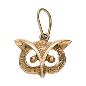Fun 14K Yellow Gold 18.5mm Owl Face Pendant