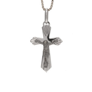 14K White Gold 1″ Crucifix Pendant