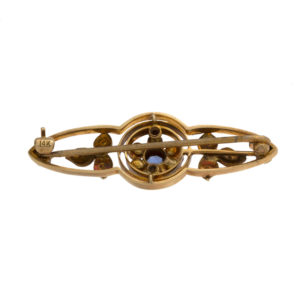Antique 14K Yellow Gold Round Sapphire & Seed Pearl Brooch