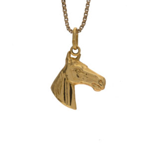 Lively 18K Yellow Gold Horse Head Pendant