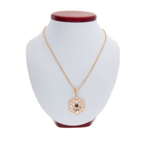 9K Rose Gold Rhodolite Garnet Pendant & 23″ Rolo Link Necklace
