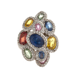 14K White Gold Designer Ring w/ 9 Multi Colored Sapphires