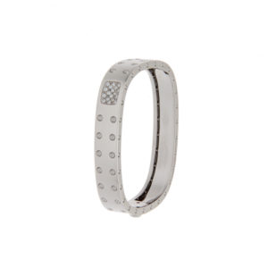 Lavish 18K White Gold Roberto Coin Pois Moi Bangle w/ Diamonds