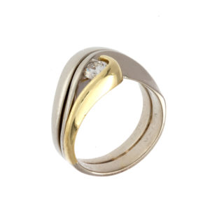 12K – 14K White & 18K Yellow Gold Ring w/ .30CT Diamond