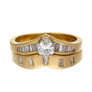 18K Yellow Gold .69TDW 2 Ring Wedding Set – 8.42 grams