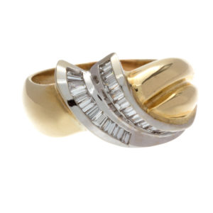 14K Yellow & White Gold .72TDW 19 Baguette Diamond Ring
